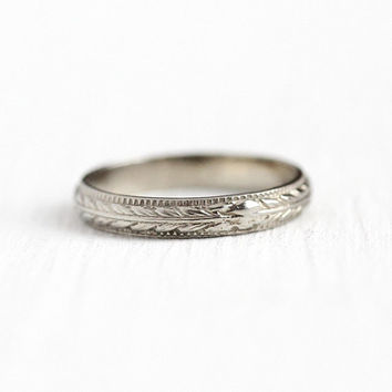 Vintage Baby Band - Size 3/4 Art Deco 1920s 10k White Gold Wheat Design Eternity Ring - Antique Child's Midi Fine Charm Milgrain Jewelry