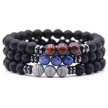 """""""Power Of Three"""" Matte Black Beads & Natural Stone Bracelet  - 16 Color Options"""