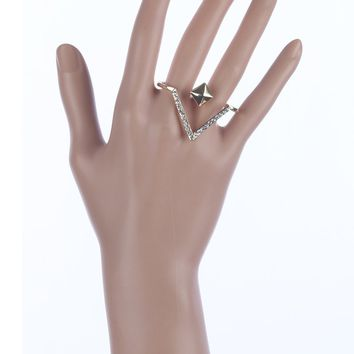 Clear Chevron Shape Two Finger Metal Ring