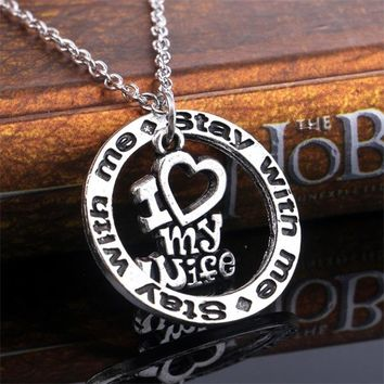 Charm Stay With Me I Love My Husband Wife Heart Pendant Necklace Letters Alphabet For Women Men Jewelry Lover Couple Choker Gift
