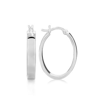 Sterling Silver Flat Style Oval Hoop Earrings with Rhodium Plating