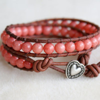 Coral Mountain Jade Boho beaded leather wrap bracelet, double wrap, silver heart, pink, red, love, romantic, valentine, gift idea