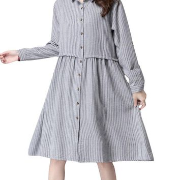 Women Long Sleeve Stripe Single-breasted Loose Dress Vintage Dress