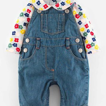 Infant Girl's Mini Boden Overalls & Bodysuit,