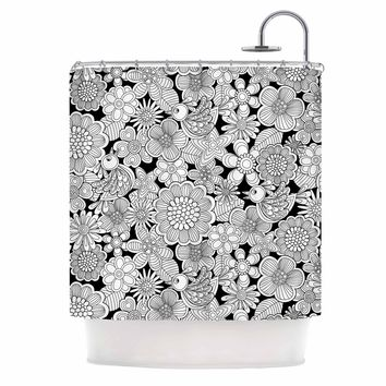 "julia grifol ""welcome white birds"" Black Floral Shower Curtain - Outlet Item"