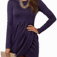 Purple Long Sleeves Mini Dress with Cross Front
