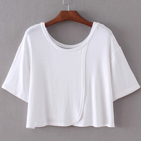 Short Sleeve Wrap Front Convertible Crop Top