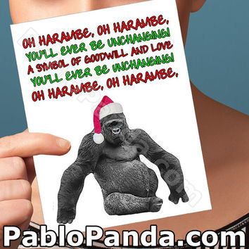 Funny Christmas Card | Harambe | Funny Holiday Cards For Husband Husband Meme Gift For Men Funny Meme Fancy Handmade Card Gorilla Zoo Card