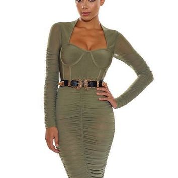 Olive Green Mesh Long Sleeve Rouched Bandage Dress