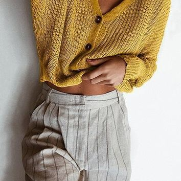 Yellow V-neck Button Placket Front Puff Sleeve Knit Sweater