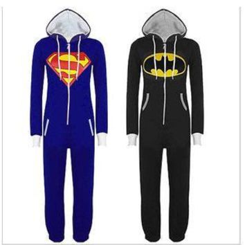 Batman Superman One Piece Sleepsuit Sleepwear Cartoon Pajamas Cosplay Costumes Unisex Pyjamas Adult Onesuit