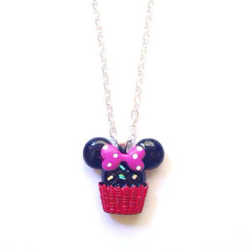 Handmade Minnie Mouse Cupcake Necklace with Red Base and Dark Pink Bow and Silver Chain