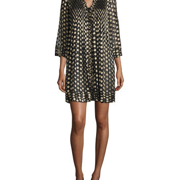 Layla Polka-Dot Shift Dress, Black/Gold, Size: