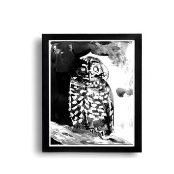 Owl print, owl painting, 8x10, bird art, bird print, wall decor, black and white art, ink drawing, art print, giclee, nature art, naturalist