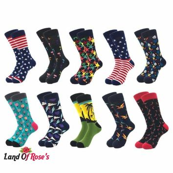 10pairs/lot Brand Quality Men Socks 100% Cotton colorful Happy Funny Sock Compression socks  8-13 US
