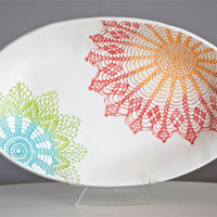 Fiesta Deep Platter - handmade green blue orange red