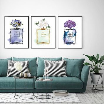 Nordic Home Decoration Abstract COCO Perfume Bottle and Flower Wall Art N5 Canvas Painting Modern Wall Pictures For Living Room