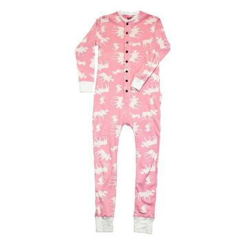 PEAPGQ9 Pink Classic Moose Flapjack Youth Union Suit