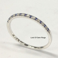 Sapphire Diamond Wedding Band Half Eternity Anniversary 14K White Gold