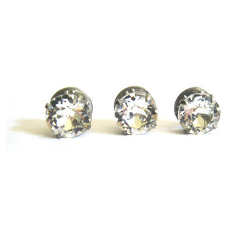 Large Clear Rhinestone Silver Tie Tacks Set of 3
