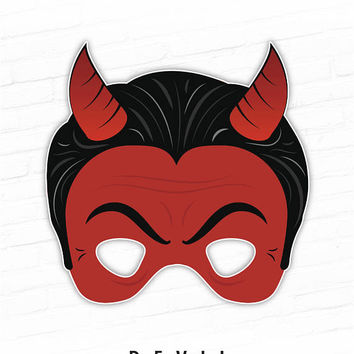 Halloween Mask, Printable Mask, Devil Mask, Satan, Red Devil, Monster Mask, Party Mask, Paper Mask, Movie Mask, Photo Booth Props Printable