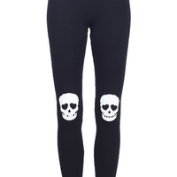 ROMWE | Skull Patch Black Leggings, The Latest Street Fashion