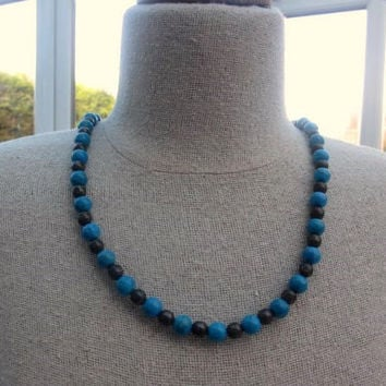 Turquoise Necklace Hermatite Mexican Sterling Silver Vintage Jewelry