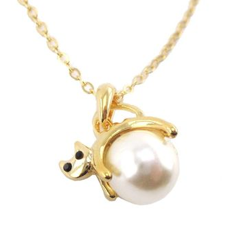 Kitty Cat Jumping Over the Moon Pendant Necklace in Gold