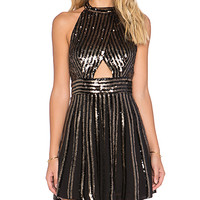 Sequin Stripe Mini Dress in Black