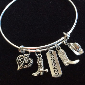 Cowboys and Cowgirls Forever Expandable Adjustable Wire Bangle Bracelet Wedding Gift Unique Trendy Favor Western
