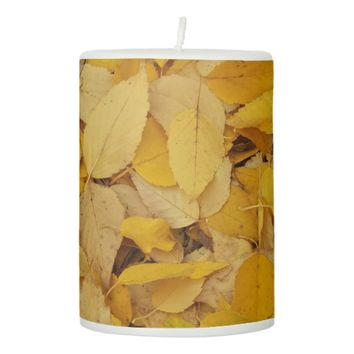 Golden Leaves Floral Pillar Candle