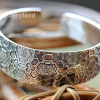 BR107 Exotic Asian Flower Metal Tibetan Silver vintage retro Fashion Cuff Bangle Bracelet gift  for her