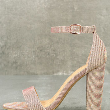 Kyra Rose Gold Glitter Ankle Strap Heels