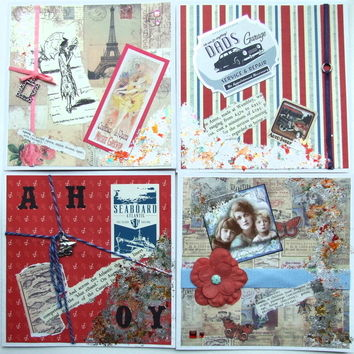 Birthday Card - Mixed Pack 4- Handmade Vintage Style - Free UK P&P