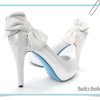 Wonderful Something TIFFANY BLUE SOLE Bridal Silver Shoes Bow Crystal Peep Toe Pumps  Wedding Bride