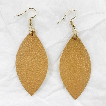 Leather Oval Earring - Other Colors Available