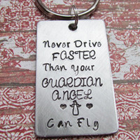 Keychain Guardian Angel Key Chain Hand Stamped Brushed Aluminum Made To Order Gift For Son Daughter New Driver First License Permit