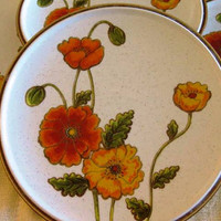 Vintage Mikasa Natural Beauty California Poppies Dinner plates , Very good, Set of 4