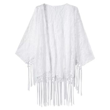 Stylish Collarless Long Sleeve Lace Frigned See-Through Pure Color Women's Kimono Blouse
