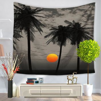 Miracille Coconut Tree Indian Tapestry Wall Hanging Beach Hippie Throw Bohemian Tapiz Yoga Mat Living Room Decor 130x150cm