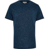 River Island MensDark turquoise neppy roll sleeve t-shirt