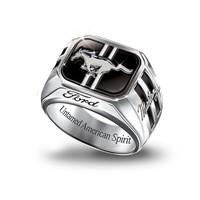 Engraved Sterling Silver Ford Mustang Men's Ring: Untamed American Spirit by The Bradford Exchange