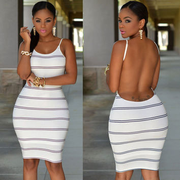 White Striped Open Back Bodycon Dress