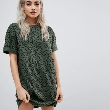 ASOS PETITE Ultimate T-shirt Dress with Rolled Sleeves In Leopard Print at asos.com