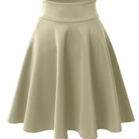 LE3NO Womens Basic Versatile Elastic Waist Flared Skater Skirt