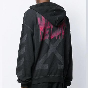 Off White Autumn And Winter Fashion New Letter Arrow Print Hooded Long Sleeve Sweater Top Gray