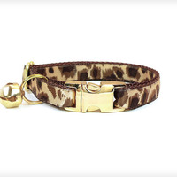 "Cat Collar - ""Safari"" - Leopard Print with Metal Buckle (Cat / Dog Collar Sizes)"