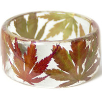 Leaf Jewelry-  Fall Leaves Bangle- Yellow Leaf Jewelry- Resin Jewelry- Leave Jewelry -Leaf Bracelet