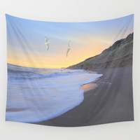 Seagull Dawn Wall Tapestry by Peaky40