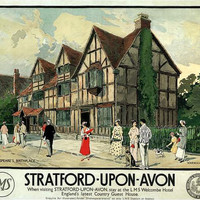 Print: Stratford-upon-Avon Shakespeare Travel Poster - 1900s
